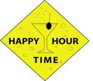 Happy Hour time with bubbles. Illustration of a sign of the happy hour time with funny bubbles Stock Photo