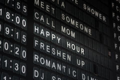 Happy Hour Timetable Sign Funny Restaurant Interior  Bla Stock Photo