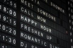 Happy Hour Timetable Sign Funny Restaurant Interior  Bla. Ck White Stock Photo