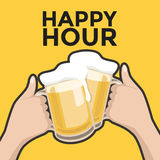 Happy hour toasting with beer Royalty Free Stock Photos