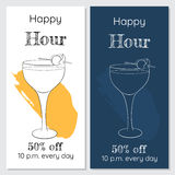 Happy hour two minimalistic brochures. Hand drawn cocktail glass. Black and white and dark blue Royalty Free Stock Photo