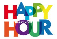 Happy hour - vector of stylized colorful font royalty free stock photo