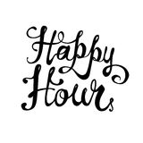 Happy hour. Vector lettering. Happy hour. Hand written lettering. Vector inscription Stock Images