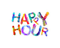 Happy hour. Vector triangular letters Royalty Free Stock Photo