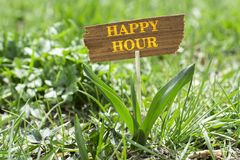 Happy hour. On wooden sign in garden with white spring flower stock photography