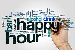 Happy hour word cloud Royalty Free Stock Photos