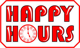 Happy hours banner in red color Stock Image