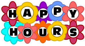 Happy hours - colorfull inscription Stock Image