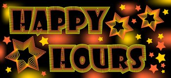 Happy hours, crazy spectacular billboard for restaurant or disco, drinks at a discount Royalty Free Stock Photo