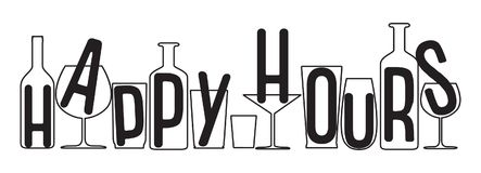 Happy hours big text above empty glasses and bottles silhouette. Happy hours design banner. Vector illustration for pubs, nightclubs, bars, restaurants Stock Image