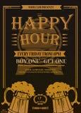 Happy Hours flyer, banner or template design with beer mug vector illustration