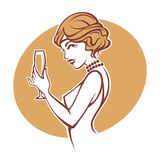 Happy hours, vector portrait of old fashioned lady. Happy hours, vector portrait of old fashioned, retro girl holdinrg a glass of champagne vector illustration