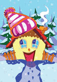 Happy house. Illustration of warm,happy house in winter Royalty Free Stock Images