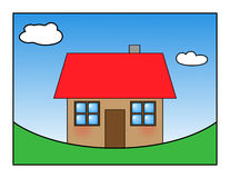 Happy house. Illustration of a house in valley metaphor of happy house Royalty Free Stock Images