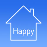 Happy House. A happy house on blue background stock photo