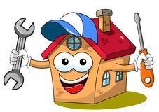 Happy house cartoon funny character fixing worker wrench screwdriver isolated. On white stock illustration