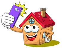 Happy house cartoon funny character smartphone or cellular selfie photo isolated. On white stock illustration