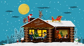 Happy house on Christmas night Royalty Free Stock Photos