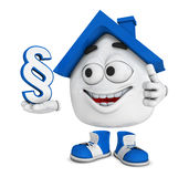 Happy house with dollar sign Royalty Free Stock Photos