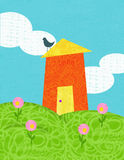 Happy house on the hill. Digital collage-style illustration of a cute red house on green hills with pink flowers against a blue sky with cheerful clouds Stock Images