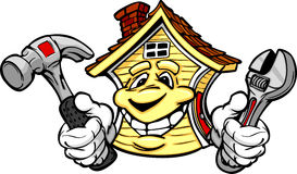 Happy House Holding Home Repair Tools Stock Photo