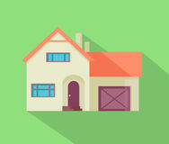 Happy House with Terrace Banner Poster Template. Royalty Free Stock Images