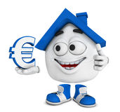 Happy house with thumb up. Cartoon illustration of happy house with thumb up holding Euro currency signs, real estate concept on white background vector illustration