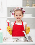 Happy housekeeping fairy Royalty Free Stock Images