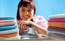 Happy housewife Stock Images