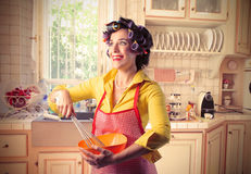 Happy housewife Royalty Free Stock Photos