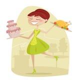 Happy housewife. Retro  illustration Stock Photos