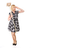 Happy housewife with broom Stock Photos