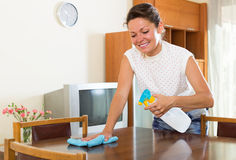 Happy housewife cleaning the dust off Stock Photos