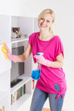Happy housewife cleaning furniture at home Stock Images