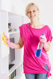 Happy housewife cleaning furniture at home Royalty Free Stock Image