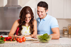 Happy housewife cooking dinner Stock Photo