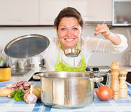Happy housewife cooking meat and potatoes Stock Photography