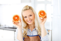 Happy housewife having fun Stock Images
