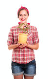 Happy housewife in kerchief Royalty Free Stock Photo