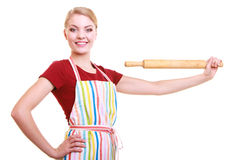 Happy housewife kitchen apron holds rolling pin isolated Stock Photos