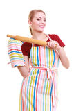 Happy housewife kitchen apron oven mitten holds rolling pin isolated Stock Photo