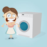 Happy housewife with washing machine Royalty Free Stock Images