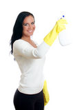 Happy housewife with window cleaner. Stock Photo