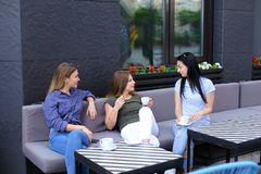 Happy housewives speaking at cafe and drinking coffee. Concept of free time and gossips Royalty Free Stock Image