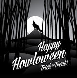 Happy howloween howling wolf and full moon. EPS 10 vector royalty free stock illustration for greeting card, ad, promotion, poster, flier, blog, article, social royalty free illustration
