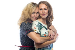 Happy hugging blond sisters Royalty Free Stock Photography