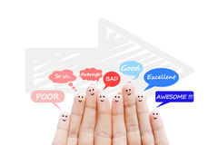 Happy human fingers suggesting feedback and communication concept Stock Image