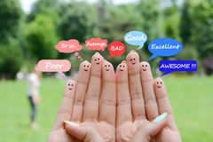 Happy human fingers suggesting feedback and communication concept Stock Images
