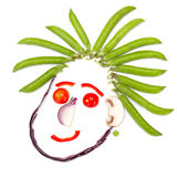 Happy human head made of vegetables Stock Photos