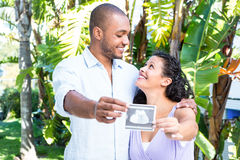 Happy husband with pregnant wife holding sonogram. Against white background Royalty Free Stock Images